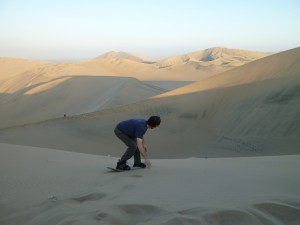Bloom sandboarding gracefully down the dunes